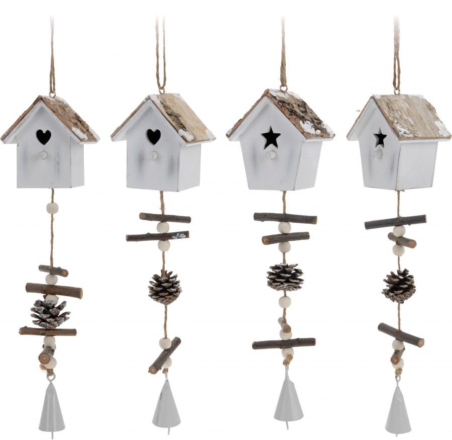 Vánoční ozdoba - ptačí budka se zvonečkem