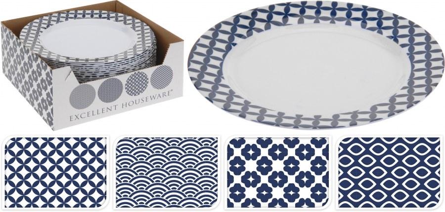Plastový talíř - modrý vzor