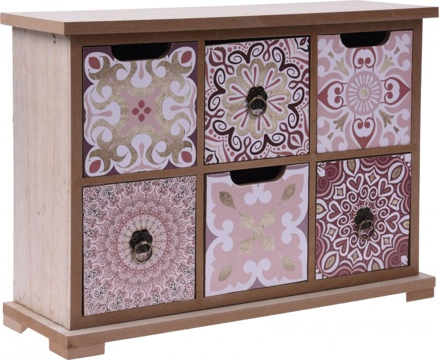 Skříňka se šuplíky - růžová se vzorem