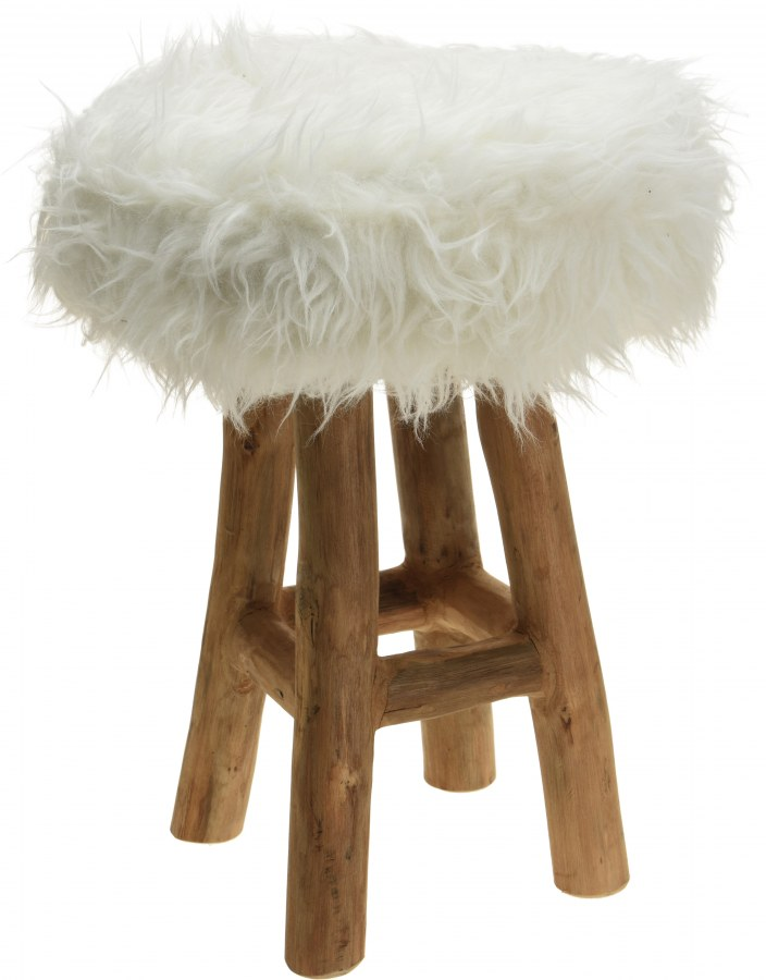 Teaková stolička - bílá