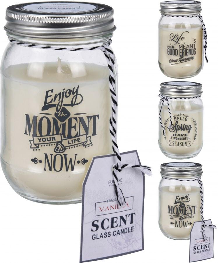 Svíčka ve skle - stříbrný uzávěr - vanilka
