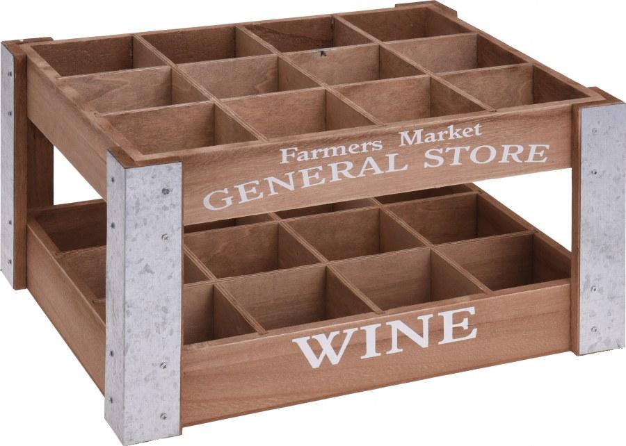 Dřevěný stojan na vína Farmers market - General store