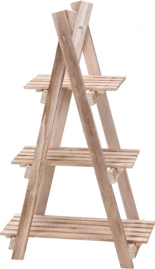 Dřevěný stojan na květiny - 3 poličky