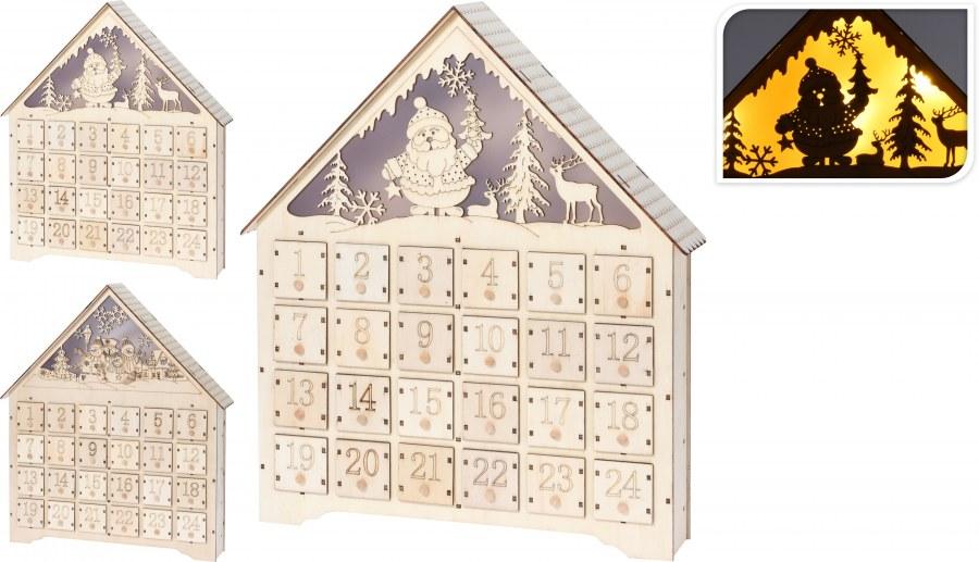 Adventní kalendář - LED domeček - 43CM