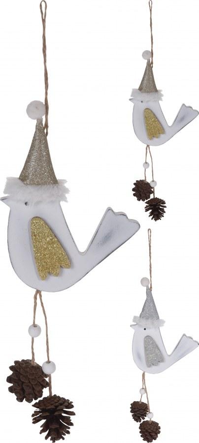 Dřevěný ptáček vánoční