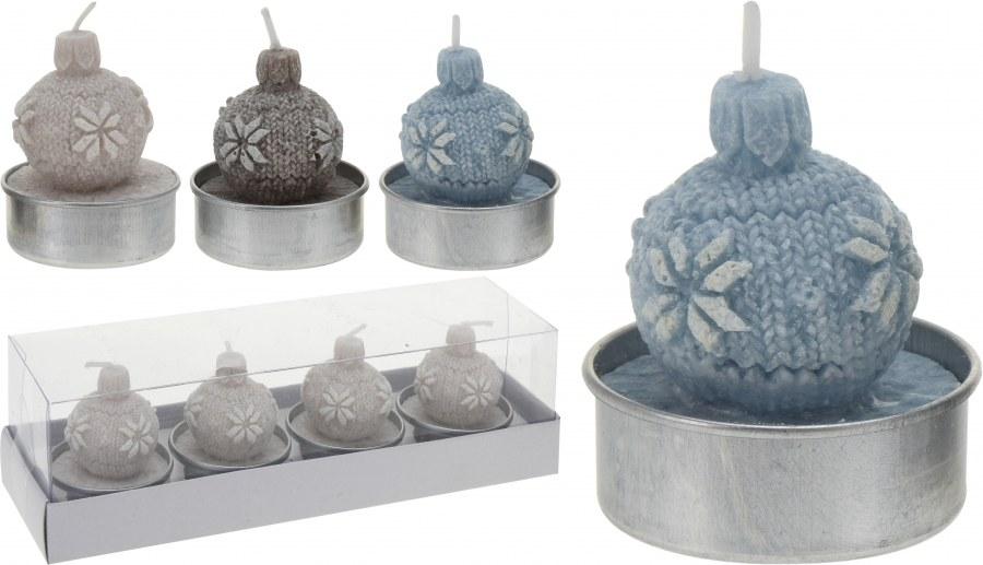Čajová svíčka - vánoční koule 4ks