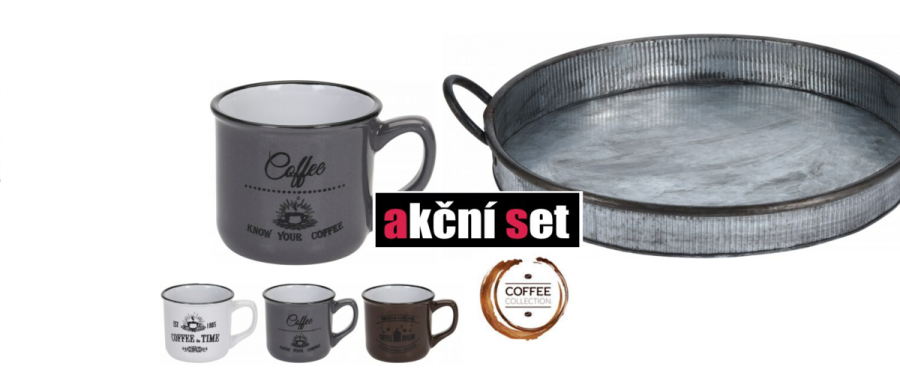 Výhodný set - servírovací tác a tři espresso šálky