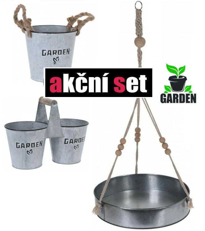 Závěs na rostliny a set zinkových květináčů GARDEN