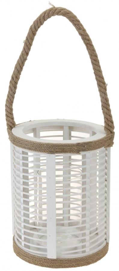 Dřevěná lucerna s provazem - bílá