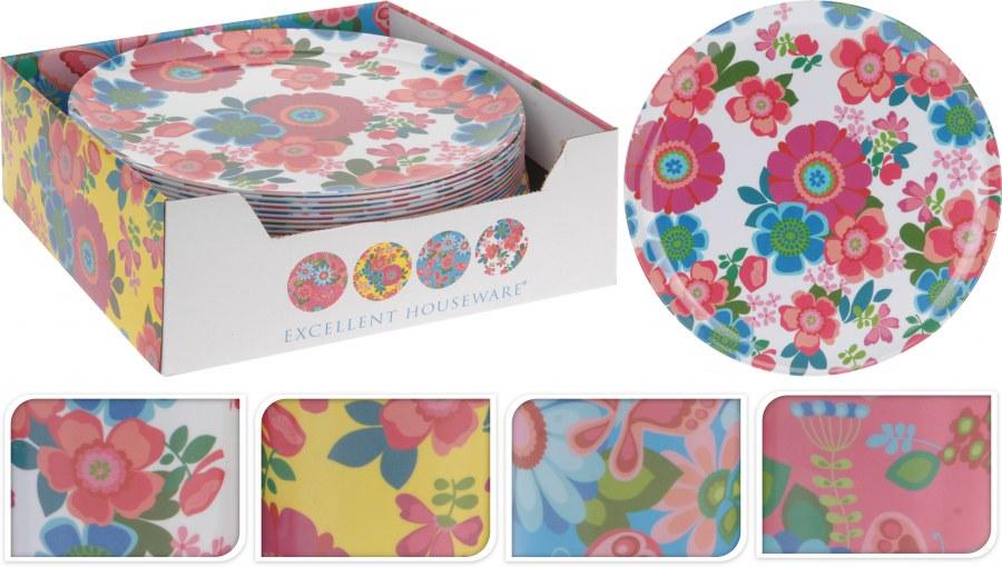 Plastový talíř - mělký, velký - květinový design