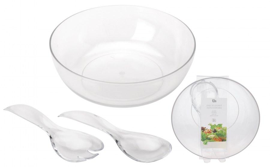 Salátová mísa  - plastová - s náčiním