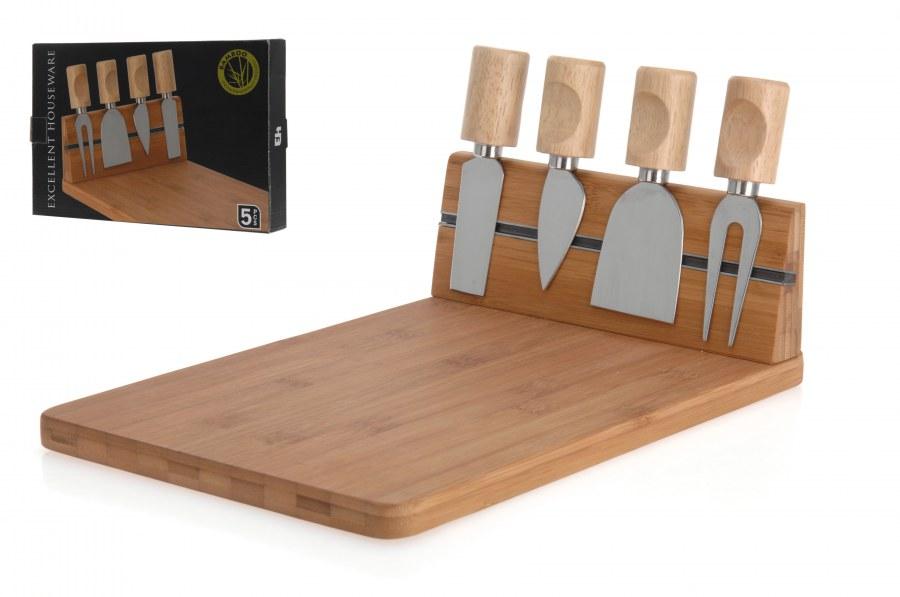 Bambusové prkénko na sýr + nože
