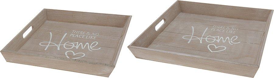 Dřevěný servírovací podnos - home
